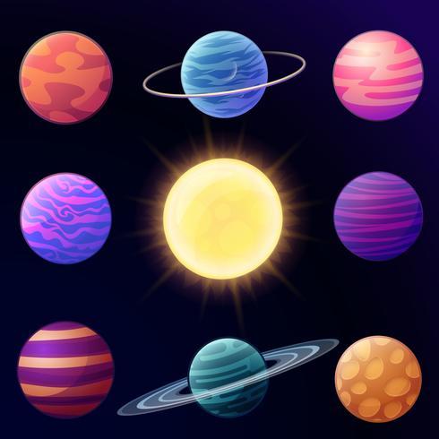 Set di pianeti lucidi cartone animato e elementi spaziali. Illustrazione vettoriale