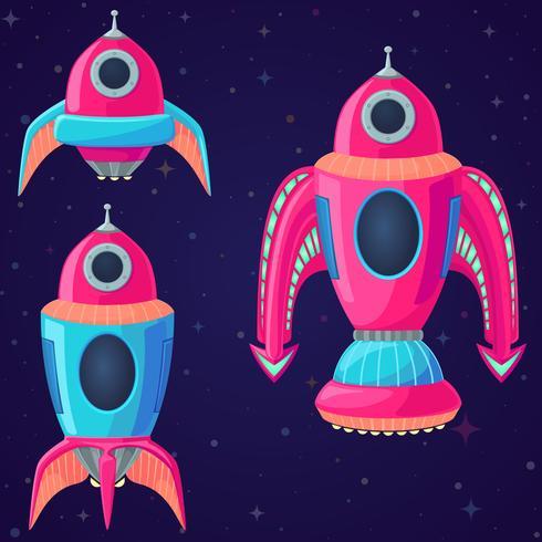 Conjunto de naves espaciales de vector de dibujos animados y cohetes