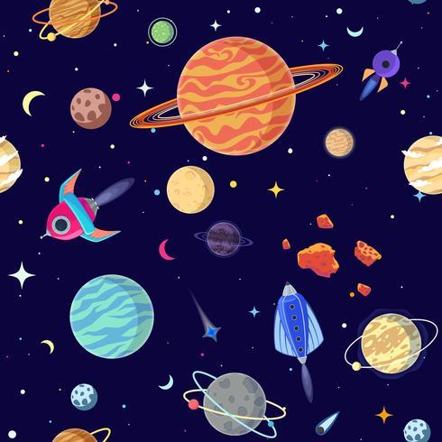 Naadloos patroon van planeten in open plek. Vector illustratie cartoon stijl