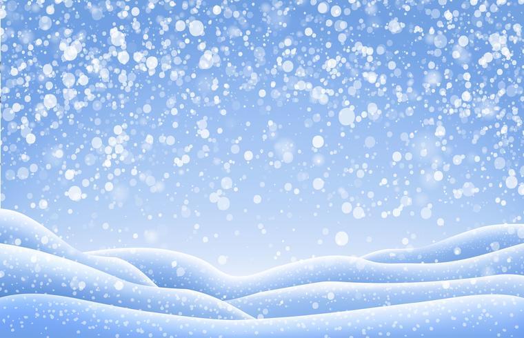 Paisaje de Navidad con gorros de nieve y nevadas cayendo. Ilustración vectorial