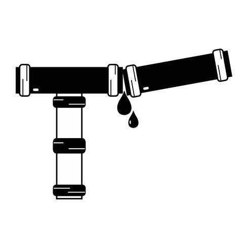 Equipo de reparación de tubo de fontanería de contorno construcción vector