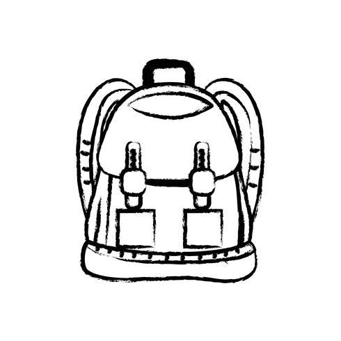 Figura mochila objeto con diseño de bolsillos y cierres. vector