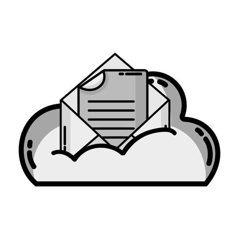 gråskala molndata och kort med dokumentinformation