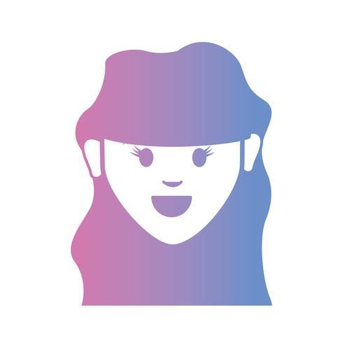 lijn avatar vrouw hoofd met kapsel