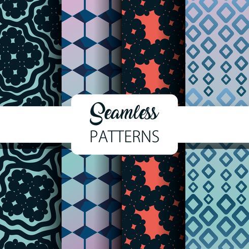 Set abstrakte nahtlose Muster Hintergrunddesign