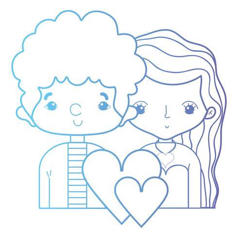 Línea de belleza pareja junto con diseño de peinado.