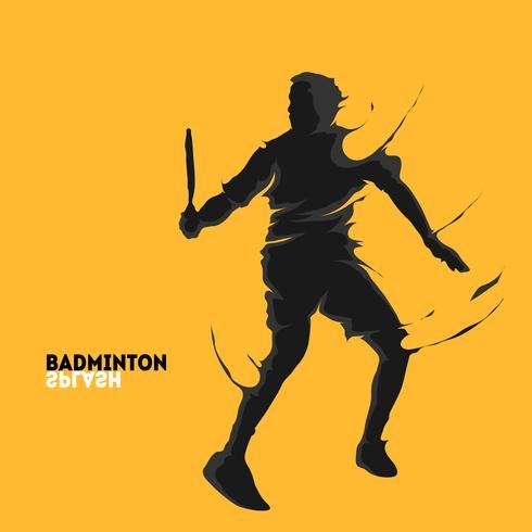 sillhouette do respingo do badminton vetor