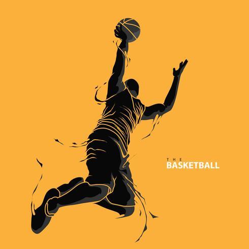silhouette splash giocatore di basket