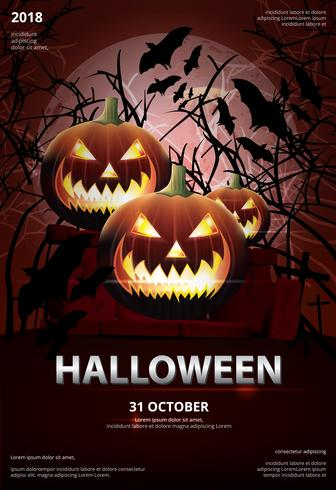 Halloween-Plakat-Schablonen-Design-Vektor-Illustration vektor