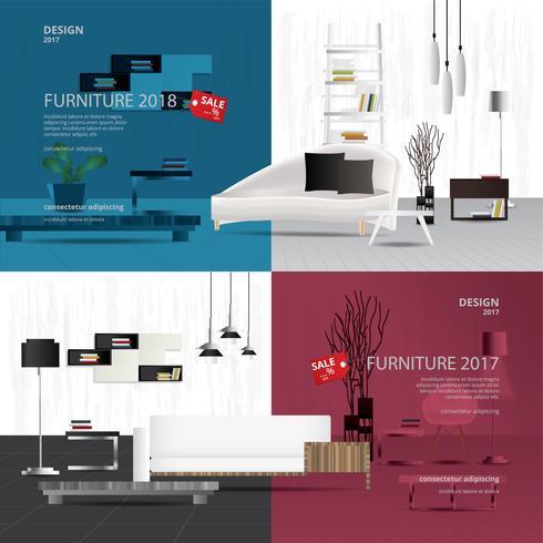 Two Banner Furniture Sale Design Template Vector Illustration