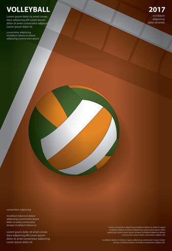 Ejemplo del vector del diseño de la plantilla del cartel del torneo del voleibol