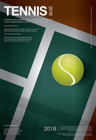 Campeonato de tenis cartel ilustración vectorial vector