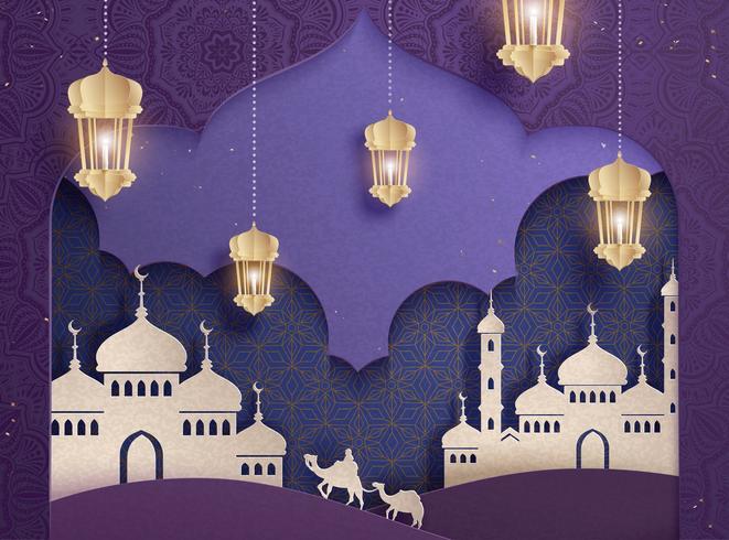 Mezquita blanca y linternas