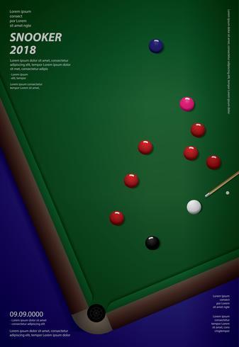 Illustrazione di vettore del modello di progettazione del manifesto di campionato dello snooker