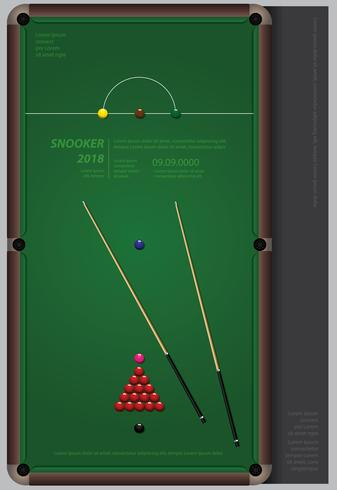 Snooker Championship Poster Design Mall Vektor Illustration
