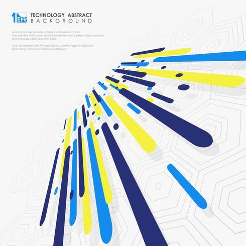 La ilustración abstracta de la composición dinámica futurista colorida en varias formas coloreadas alinea.