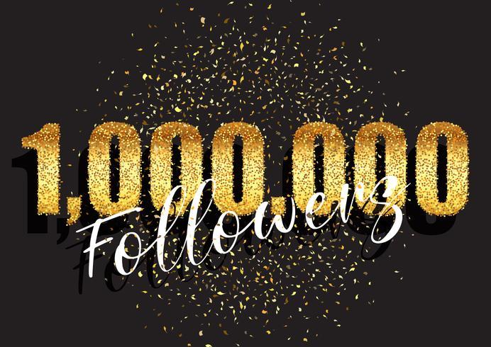 One million followers glittery celebration background