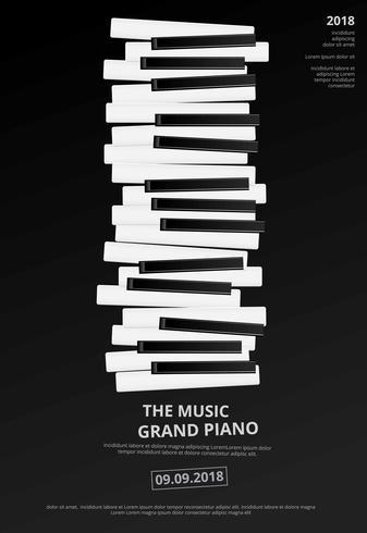 Modelo de plano de fundo do piano de cauda de música modelo ilustração vetorial