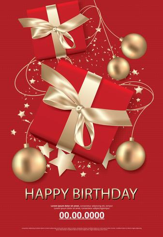 Happy birthday poster card celebration vector illustration