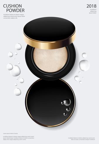 Make-up Puder Kissen Plakat Vorlage Vektor-Illustration