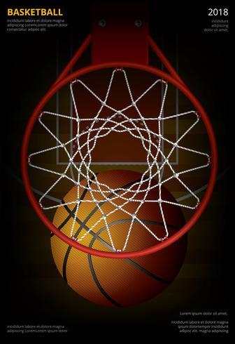 Basketbalaffiche die Vectorillustratie adverteren