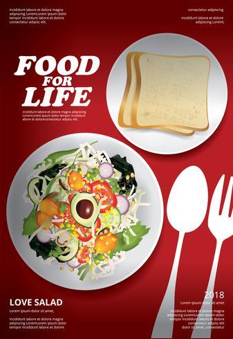 Vegetable Salad Food Poster Design Vector Illustration