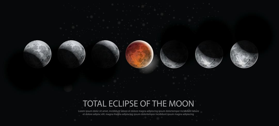 Illustration vectorielle de l'éclipse totale de la lune vecteur