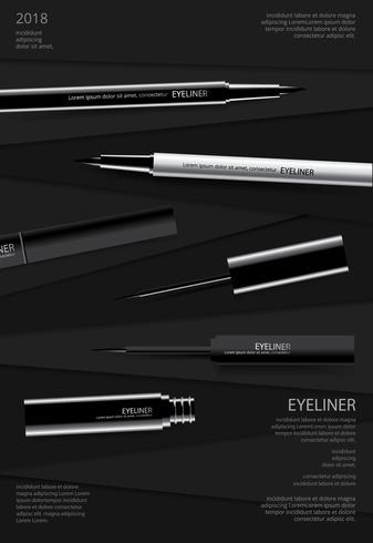 Delineador de ojos cosmético con diseño de cartel de embalaje ilustración vectorial vector