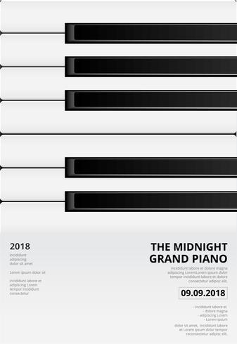 Ejemplo del vector de la plantilla del fondo del cartel del piano de cola de la música