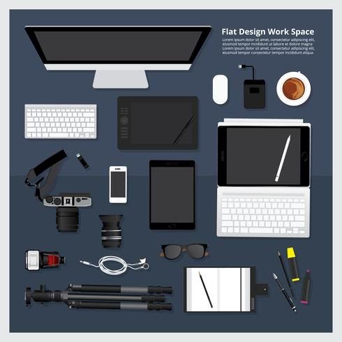 Creative and  Graphic Design Tool Workspace isolated vector illustration