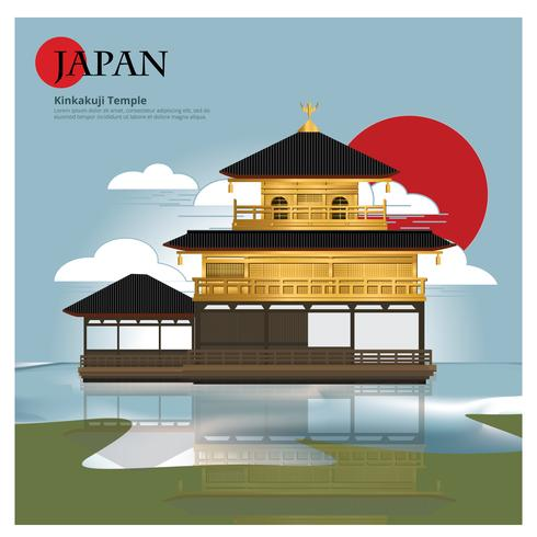 Kinkakuji Temple Japan Landmark et Travel Attractions Vector Illustration