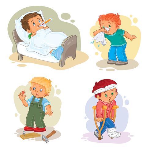 Conjunto de ícones menino doente