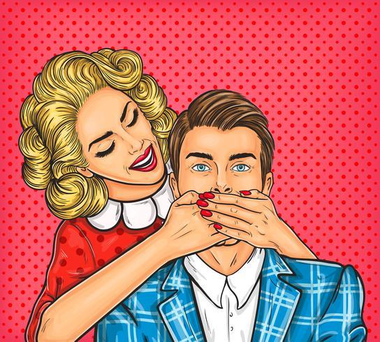 Kvinna nära munnen till hennes man