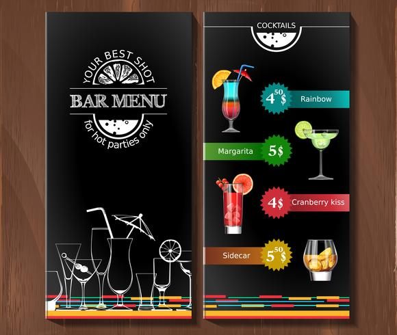 Menu di design per cocktail bar in stile aziendale.
