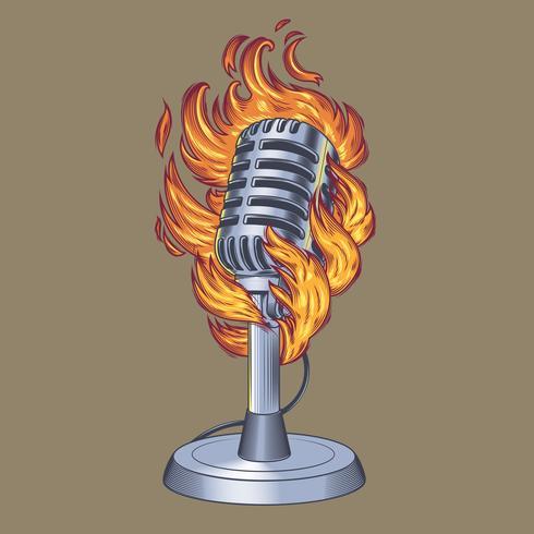 Oude microfoon gemaakt in grunge stijl