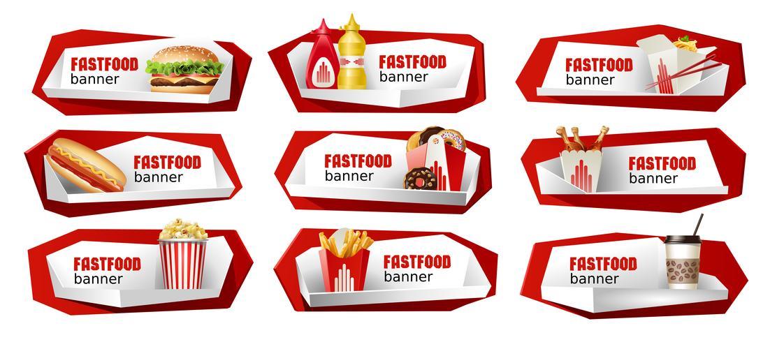 Conjunto de bandeiras de vetor de fast-food.