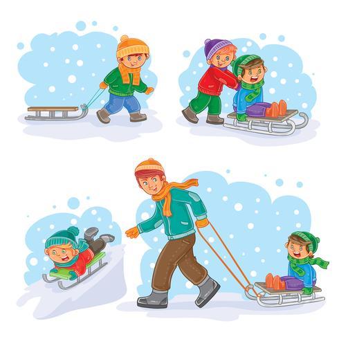 Conjunto de ícones de inverno com criancinhas