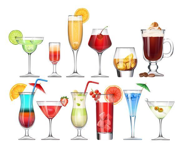Set di calici e bicchieri con cocktail