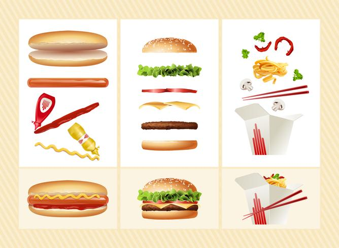 Poster with the ingredients for fast food