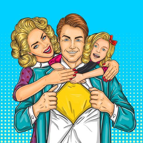 Lycklig familj - super pappa, mamma och dotter