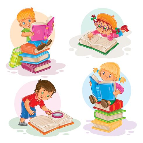 Conjunto de ícones de crianças pequenas, lendo um livro