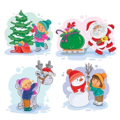 Icone piccoli bambini decorano l'albero di Natale, facendo un pupazzo di neve