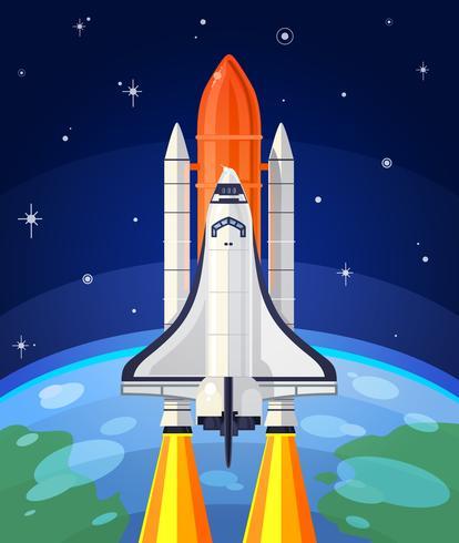 Ilustração do vetor de um lançamento do foguete de espaço.
