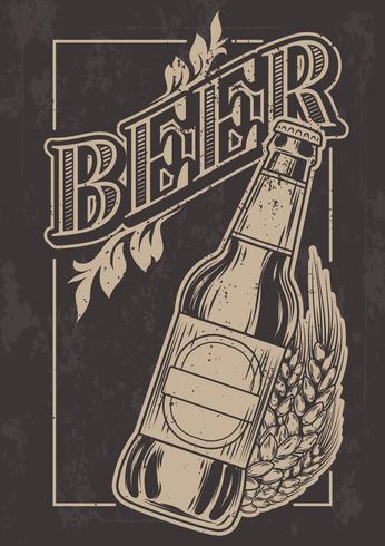 Vector plantilla vintage para publicidad de cerveza fría.