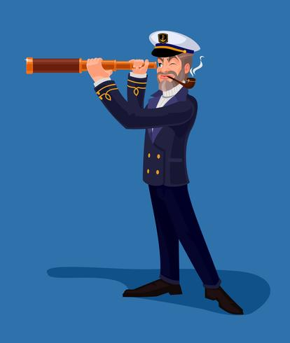 Sea captain smoking a pipe and looking through spyglass