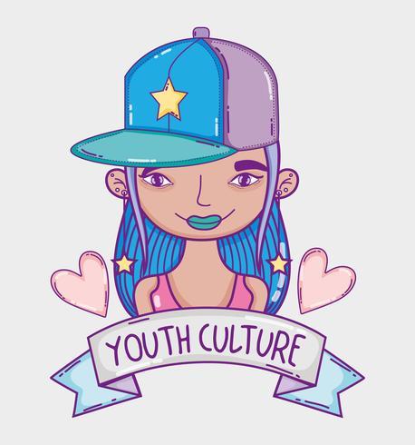 Millenial Frauenkarikatur der Jugendkultur