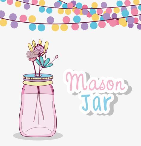 Mason jar with flowers