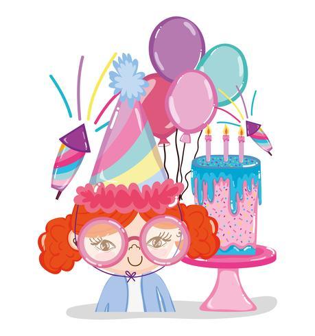 Dessins animés de fête d'anniversaire fille