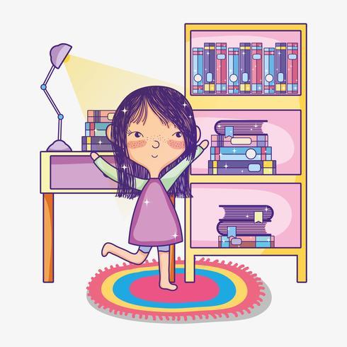 Menina, com, livros, desenhos animados