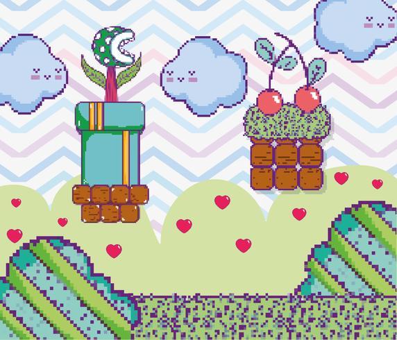 Pixelated videogame landskap